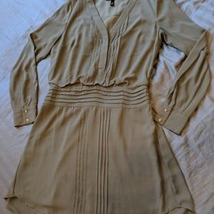 WHBM Olive Green Pleated Shirt Dress